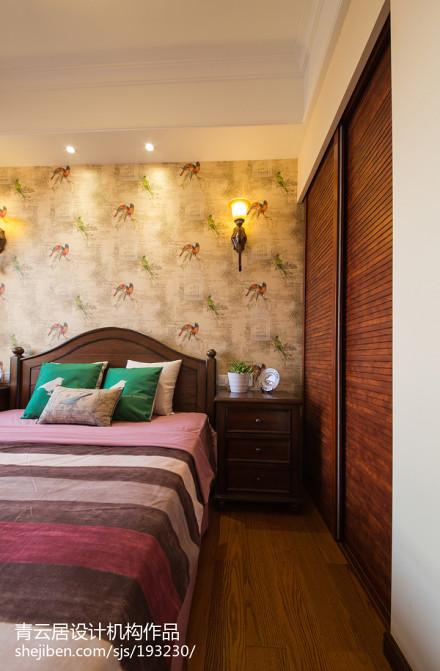 2018精选面积108平美式三居卧室实景图片大全卧室