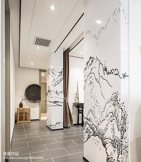 精选面积92平中式三居过道装修图片大全三居中式现代家装装修案例效果图