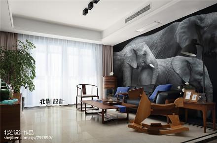 浪漫180平中式三居客厅设计美图三居中式现代家装装修案例效果图