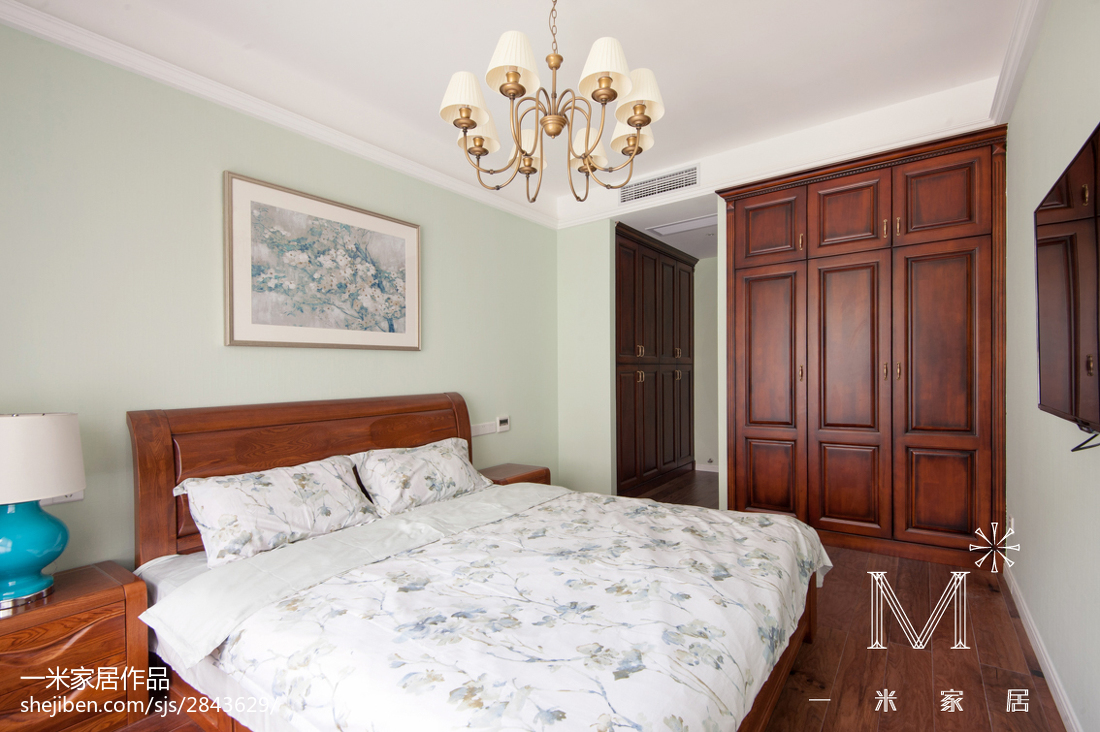 面积100平新古典三居卧室效果图卧室美式经典卧室设计图片赏析