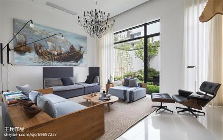 热门客厅北欧装修实景图片大全样板间北欧极简家装装修案例效果图