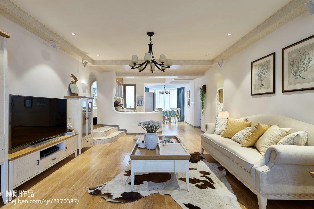 温馨160平地中海三居客厅装修美图三居地中海家装装修案例效果图