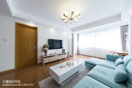 精美90平米二居客厅宜家装修欣赏图片大全二居现代简约家装装修案例效果图