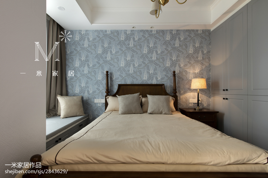 简洁88平美式三居卧室装修装饰图卧室美式经典卧室设计图片赏析