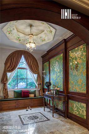平米美式别墅玄关装修欣赏图片大全别墅豪宅美式经典家装装修案例效果图