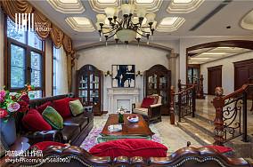 简洁587平美式别墅客厅效果图片大全别墅豪宅美式经典家装装修案例效果图