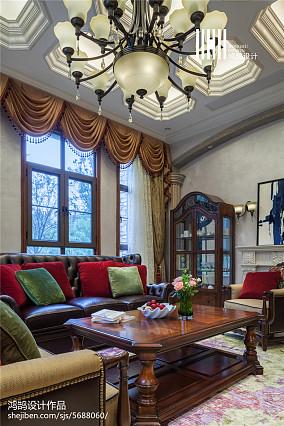 热门面积136平别墅客厅美式装修设计效果图片别墅豪宅美式经典家装装修案例效果图
