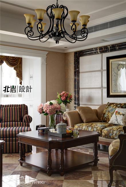 精美面积144平复式客厅美式装修欣赏图片