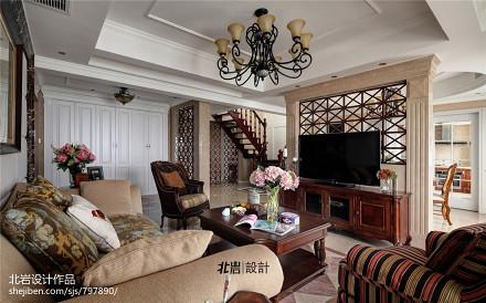 精美面积115平复式客厅美式装修欣赏图片