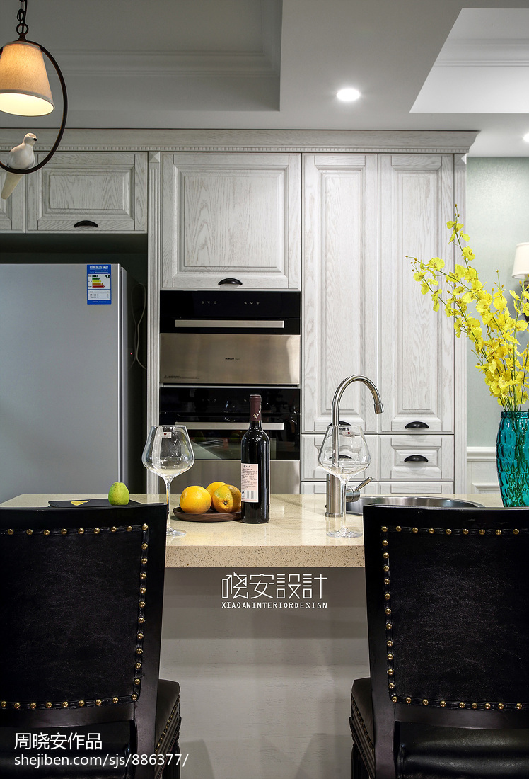 质朴69平美式复式厨房图片欣赏餐厅美式经典厨房设计图片赏析