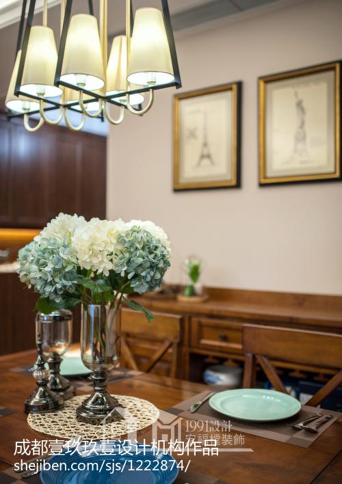 质朴60平美式二居餐厅设计效果图厨房美式经典餐厅设计图片赏析