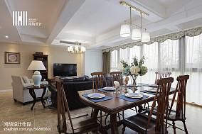 质朴100平美式四居餐厅实景图四居及以上美式经典家装装修案例效果图
