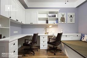 温馨107平美式四居书房设计效果图四居及以上美式经典家装装修案例效果图