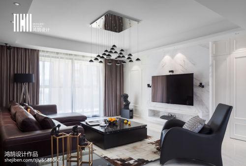 浪漫168平现代三居设计美图客厅床三居现代简约家装装修案例效果图