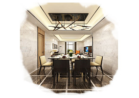 简约时尚元素化三居室装修效果图
