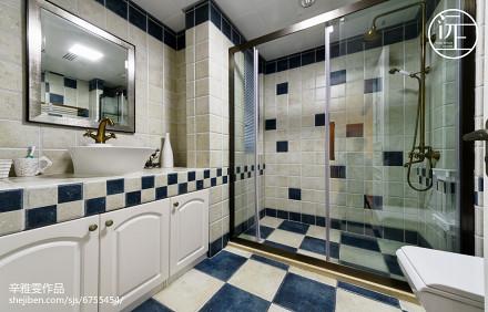热门大小105平美式三居卫生间装修设计效果图片欣赏卫生间