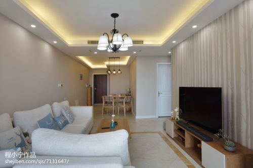 精选小户型客厅北欧装修设计效果图客厅电视背景墙81-100m²一居家装装修案例效果图