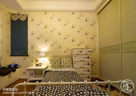 2018精选96平米三居儿童房美式实景图