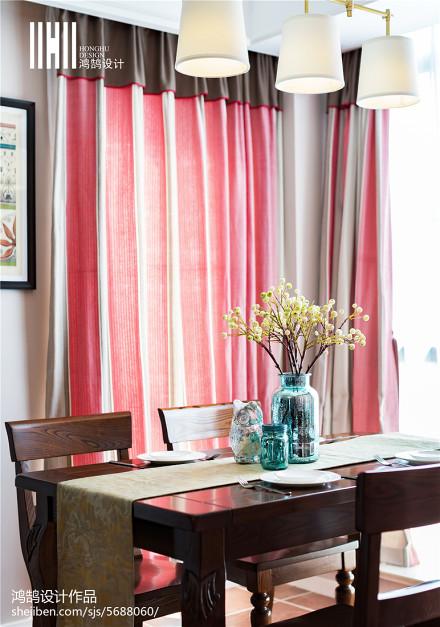 热门面积91平美式三居餐厅装修实景图片厨房