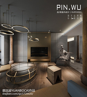 热门面积115平混搭四居客厅装饰图