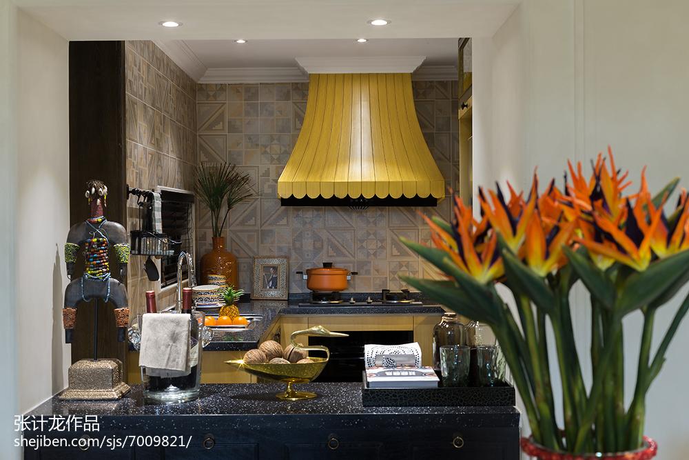 热门欧式厨房装修图餐厅欧式豪华厨房设计图片赏析