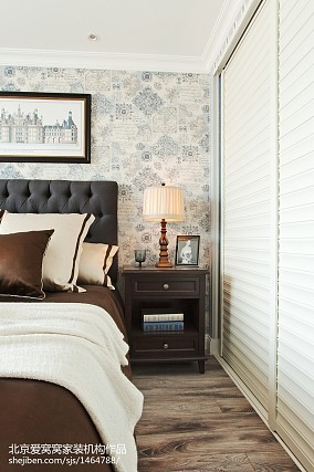 面积91平欧式三居卧室实景图片