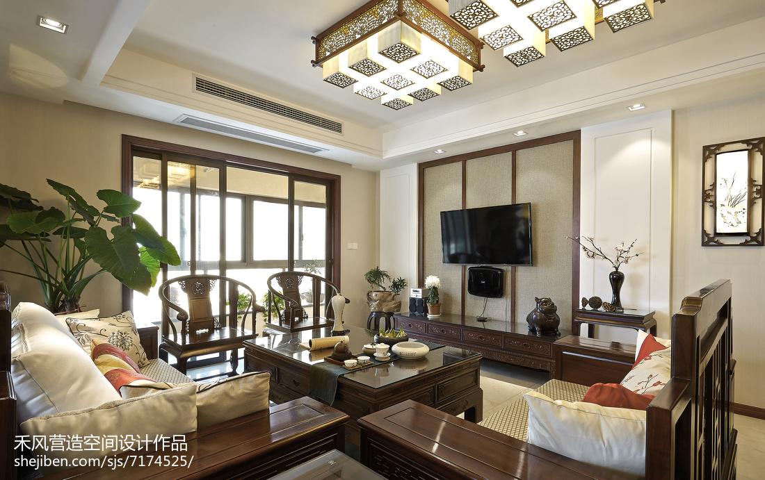 家装美式风格背景墙设计客厅中式现代客厅设计图片赏析