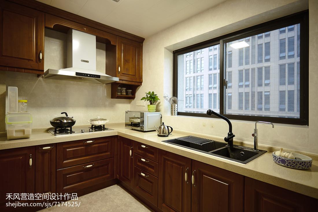 家居美式风格厨房装修案例餐厅中式现代厨房设计图片赏析