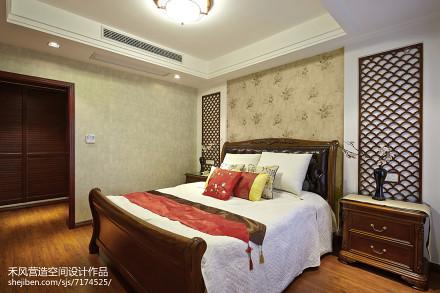 面积100平中式三居卧室装修效果图片欣赏