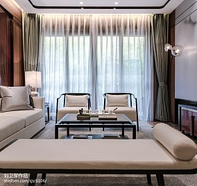 样板房中式风格客厅设计样板间中式现代家装装修案例效果图