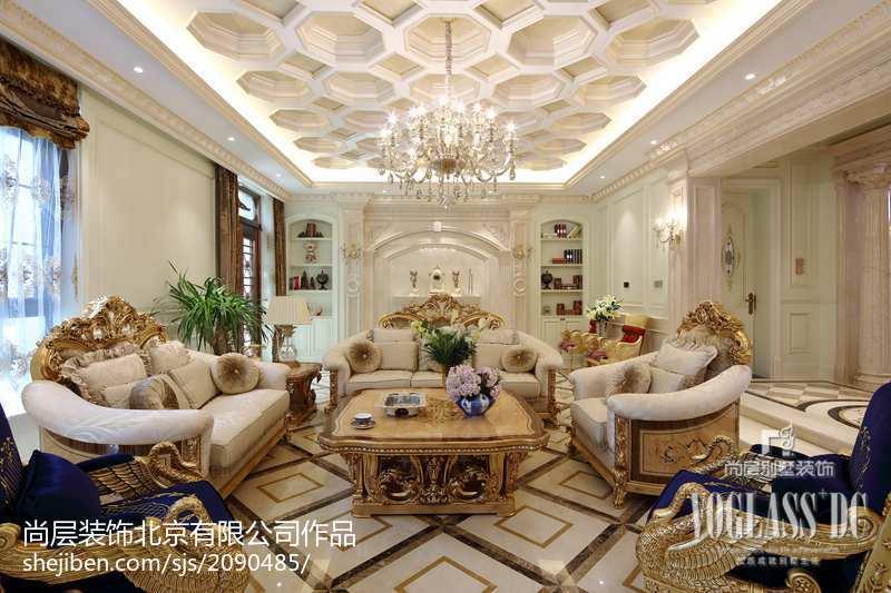 精美114平米新古典别墅客厅装饰图别墅豪宅美式经典家装装修案例效果图