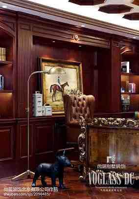 热门110平米新古典别墅书房实景图片欣赏别墅豪宅美式经典家装装修案例效果图
