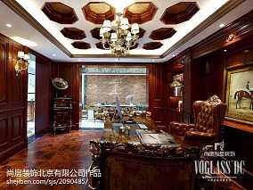 精美208平新古典别墅书房设计图别墅豪宅美式经典家装装修案例效果图