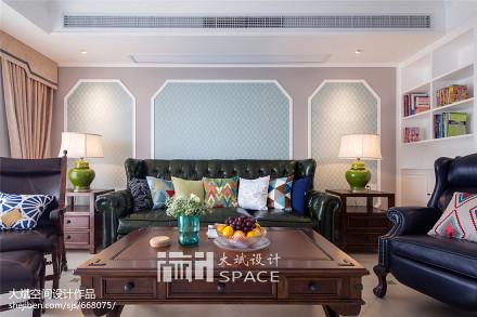 精选面积109平美式三居客厅装修设计效果图片