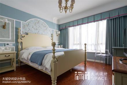 优美113平美式三居卧室效果图