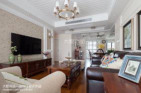 热门96平米三居客厅美式装修实景图片