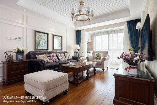 热门面积109平美式三居客厅装饰图片欣赏客厅窗帘121-150m²三居家装装修案例效果图