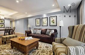 热门面积86平美式二居客厅装修设计效果图片二居美式经典家装装修案例效果图