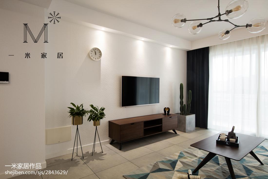 家居北欧风格背景墙装修图客厅北欧极简客厅设计图片赏析