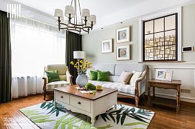 2018精选109平方三居客厅美式装修实景图片三居美式经典家装装修案例效果图
