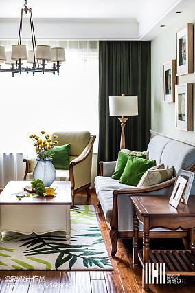 2018精选105平米三居客厅美式实景图片三居美式经典家装装修案例效果图