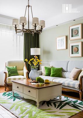 面积105平美式三居客厅装修图片大全