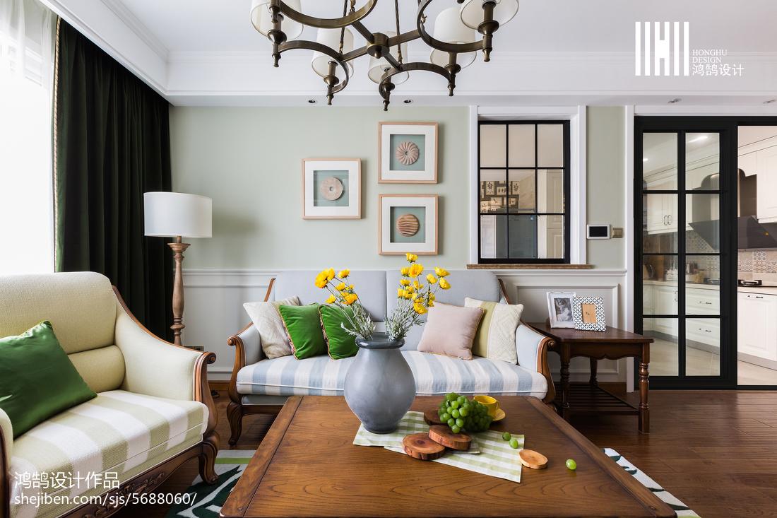 热门109平米三居客厅美式装修效果图三居美式经典家装装修案例效果图