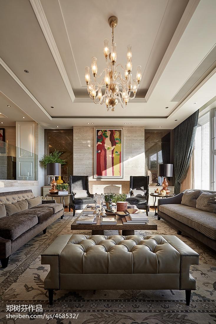 2018精选面积128平别墅客厅混搭装修设计效果图片欣赏客厅