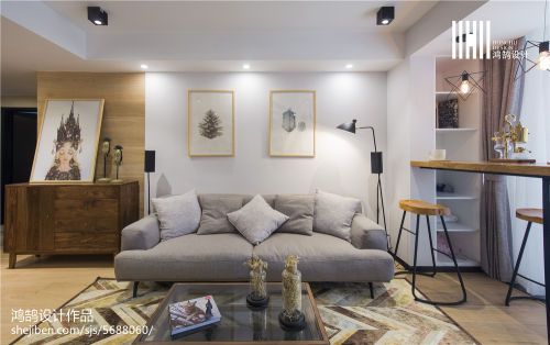 精选北欧二居客厅装修实景图片欣赏客厅窗帘81-100m²北欧极简家装装修案例效果图