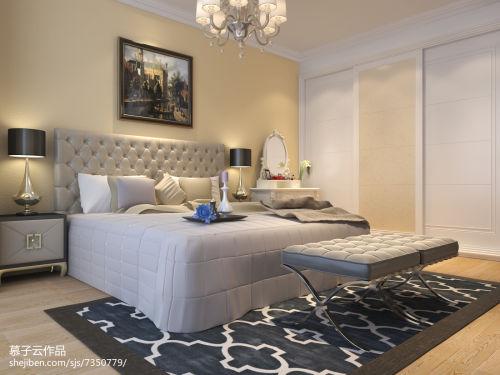 精选面积90平简欧三居卧室装饰图片大全卧室121-150m²三居家装装修案例效果图