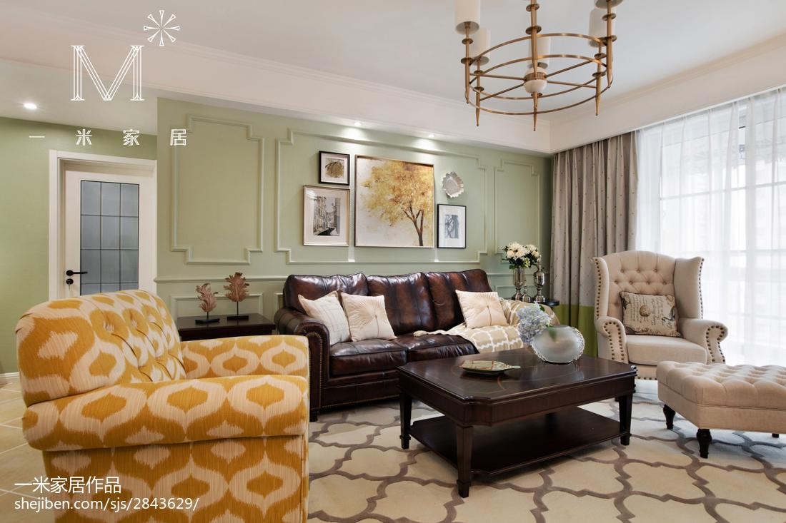 轻奢148平美式二居装修设计图客厅美式经典客厅设计图片赏析