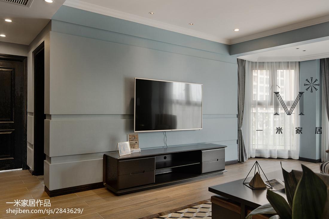 家居现代风格淡蓝色背景墙装修客厅现代简约客厅设计图片赏析