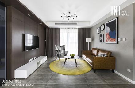 2018面积104平简约三居客厅装修图