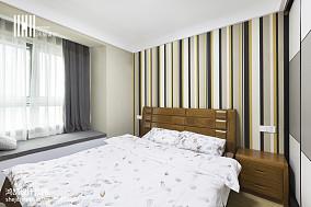 精选面积106平简约三居卧室实景图片大全三居现代简约家装装修案例效果图